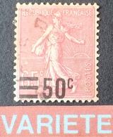 R1934/62 - 1926 - TYPE SEMEUSE LIGNEE - N°224 ☉ TRES BON CENTRAGE - VARIETE ➤➤➤ Surcharge Déplacée - Variedades Y Curiosidades