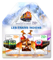 DJIBOUTI 2019 - Indian Trains, Peacocks. Official Issue - Paons