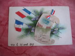 Guerre 14.18 Carte Peinte  Gloire A La France Ajouti Drapeau Francais Tissu - Guerre 1914-18