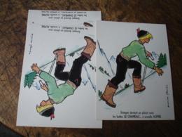 Lot De 4 Carton Carte Postale Publicite  Les Botte Le Chameau A Semelle Alpine - France