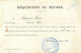 MAUBEUGE REQUISITION DU BEURRE PENDANT LA GUERRE 14-18 MAGASIN DE CONCENTRATION CASIMIR-FOURNIER 1919 - 1914-18