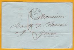 1850 - LAC En Français De Nizza/Nice Maritime Vers Gênes (les 2 Villes En Piémont-Sardaigne, Aujourd'hui Italie) - Taxe - Postmark Collection (Covers)