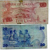 2 Billets 1 Du Ghana 10 Cedis 1978 Et 1 Du Kenya 20 Shillings Du 01-01-1982 - - Ghana