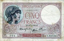 Billet De 5 Francs Violet Type 1917 Le 20-07-1939 En TB - - 1871-1952 Antiguos Francos Circulantes En El XX Siglo