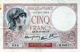 BILLET DE 5 FRANCS Violet Type 1917 Le 19-10-1939 En TTB - - 1871-1952 Antiguos Francos Circulantes En El XX Siglo