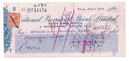 PRAH  PRAGUE  1929  NATIONAL PROVENCIAL BANK LIMITED  LONDON - Chèques & Chèques De Voyage