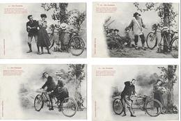 BERGERET Illustrateur EN TANDEM -Lot De 4 Cartes Cpa-voir Scan R/V Des 4 Cartes (Bicyclette Cycle Bicycle Vélo) - Bergeret