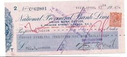 WIEN ZMNOSTENSKA BANKA  1929  NATIONAL PROVENCIAL BANK LIMITED  LONDON - Chèques & Chèques De Voyage