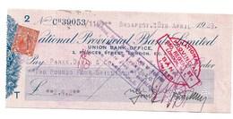 BUDAPEST  1929  NATIONAL PROVENCIAL BANK LIMITED  LONDON - Chèques & Chèques De Voyage