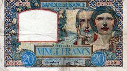 BILLET DE 20 FRANCS Science&travail 8-01-1942 En TTB - 1871-1952 Circulated During XXth