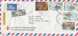 "LSC 1999  -  Recommandé  "" DAR ES SALAAM - TANGANYIKA ""et Cachets Sur Timbres YT 1697 & Autres - Tanzania (1964-...)"