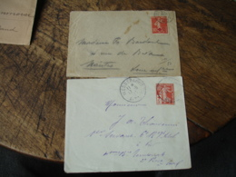 Lot De 2 Lettre Timbre Croix Rouge Semeuse 10 C Plus 5 Les 2 Types - Postmark Collection (Covers)