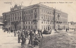 TRIESTE-RIVA DEL MANDRACCIO E PALAZZO DEL LLOYD-CARTOLINA VIAGGIATA IL 24-3 1908 - Trieste
