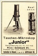 """Original-Werbung/Anzeige 1926 - TASCHEN - MIKROSKOP """"JUNIOR"""" - SPINDLER & HOYER - GÖTTINGEN - Ca. 65 X 90 Mm - Werbung"""