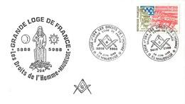 MAUBEUGE GRANDE LOGE DE FRANCE FRANC-MACONNERIE FRANC-MACON DROITS DE L'HOMME 59 NORD - Timbres