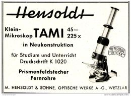 Original-Werbung/ Anzeige 1952 - HENSOLDT TAMI MIKROSKOP - Ca. 65 X 50 Mm - Werbung