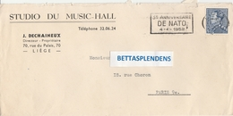 LSC 1959 -  Entête STUDIO DU MUSIC-HALL  & Flamme 3è Anniversaire DE NATO 4.4.1952 - Belgio