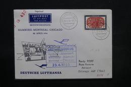"""LUXEMBOURG - Enveloppe De Luxembourg Pour Chicago Par Voie Aérienne """" Hambourg / Montreal / Chicago En 1956 - L 28454 - Luxemburg"""