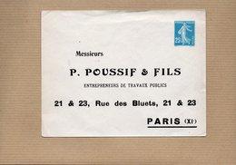 Entier Postal - Semeuse 25c Bleu - Neuf - P.POUSSIF & FILS PARIS - Postal Stamped Stationery