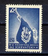 1942 - Croazia Indipendente - Francobollo 5k+20k Pro Gioventù Ustascia Da Foglietto - Nuovo MNH** - Croazia