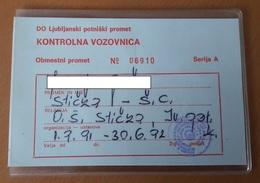 Children Bus Control Used Ticket Sticna Slovenia Plastic Card 1991/1992 - Season Ticket