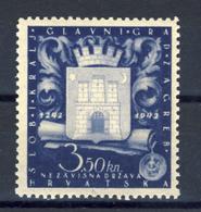 1943 - Croazia Indipendente - 7° Centenario Di Zagabria - Nuovo MLH* - Croazia