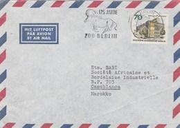 Allemagne Lettre Entête Kreuzberger  Cachet Flamme Illustrée Animal 125 Jahre Zoo Berlin 1969 Pour Maroc - Berlin (West)