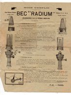 Mode D'emploi    BEC RADIUM  (lampe à Pétrole) (PPP18171) - Advertising