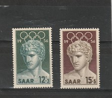 Sarre Neuf **  1956   N°  353/354    Jeux Olympiques De Melbourne - 1947-56 Occupation Alliée
