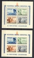 1943 - Croazia Indipendente - Pro Legionari Croati I 2 Foglietti - Nuovi MNH** - Croazia