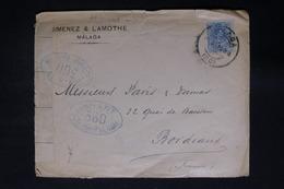 ESPAGNE - Enveloppe Commerciale De Malaga Pour Bordeaux En 1916 Avec Contrôle Postal - L 28466 - Brieven En Documenten
