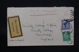ALLEMAGNE - Enveloppe Par Avion De Heidelberg Pour Cambridge, Affranchissement Incomplet - L 28467 - Storia Postale