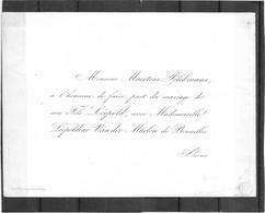 Fair-part Mariage * (carte Porcelaine) Maertens Pelckmans , Son Fils Léopold Avec Léopoldine Van Der Maelen De Bruxelles - Cartes Porcelaine