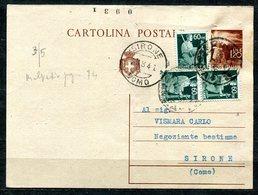 Z1481 ITALIA REPUBBLICA 1946 Cartolina Postale 1,20 L. (Fil. C127), Con Affrancatura Aggiuntiva (democratica C. 60 X 3), - 6. 1946-.. Repubblica