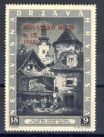 1943 - Croazia Indipendente - Esposizione Filatelica Di Zagabria Soprastampato In Rosso - Nuovo MNH** - Kroatien