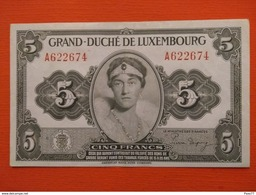 Luxembourg , 5 Francs 1944 , Tb, Série A - Luxemburg