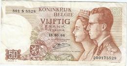 Bélgica - Belgium 50 Francs 16-5-1966 Pk 139 3 Firma Kestens Ref 32 - Otros