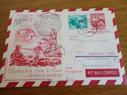 TIMBRE AUTRICHE ENTIER POSTAL PAR BALLON 1951 - Ganzsachen