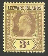 Leeward Islands.  1907 -1911 King Edward VII. 3p. MH - Leeward  Islands