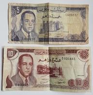 BILLET - MAROC - LOT DE 2 - P.56 ET 57 - 5 ET 10 DIRHAMS - 1970 - HASSAN II - Morocco