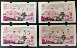 Macau/Macao 2019 Zodiac/Year Of Pig (ATM Label Stamp) 4v MNH - 1999-... Chinese Admnistrative Region