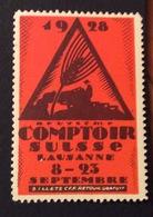 AGRICOLTURA LAUSANNE  1928 COMPTOIR  SUISSE    ETICHETTA PUBBLICITARIA ERINNOFILO - Cinderellas