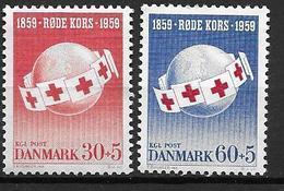 Danemark 1959 N° 383/384 Neufs** Centenaire De La Croix Rouge - Denmark