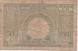 BILLETE DE MARRUECOS DE 50 FRANCS DEL AÑO 1949 (BANKNOTE-BANK NOTE) - Marruecos