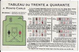 JEU JEUX DE CARTES  TABLEAU DU TRENTE & QUARANTE A MONTE-CARLO  CASINO - Cartes à Jouer