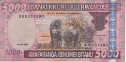 BILLETE DE RWANDA DE 5000 FRANCS DEL AÑO 2009 GORILA-GORILLA  (BANKNOTE) - Rwanda