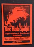 DRESDEN 1935  DER ROTE KAHN    ETICHETTA PUBBLICITARIA ERINNOFILO - Erinnophilie
