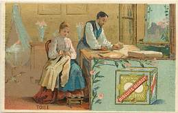 - Chromos -ref-ch710-  Biscuits Georges - Paris - Coubevoie - La Toile - Tailleur - Couturiere - Metiers - Fond Doré - - Confectionery & Biscuits