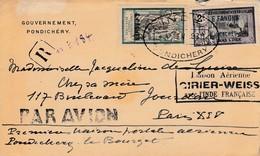 1ère Liaison Aérienne Pondichéry-Paris Par Avion 1930 - Inde (1892-1954)