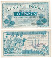 BON COMMERCIAL // LIMOGES // UNION DE LIMOGES // Dix Francs - Bons & Nécessité